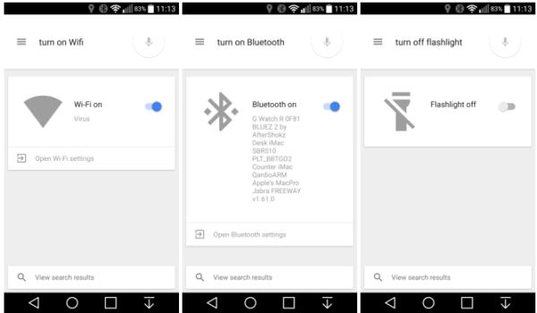Lollipop-användare kan slå av och på Wi-Fi, Bluetooth och ficklampan med Google Search