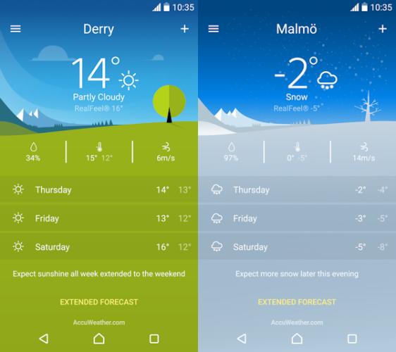 Sony släpper sin nya väderapplikation i Play Store