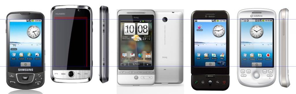 Storleksjämförelse - Från vänster till höger: Samsung Galaxy - Huawei U8230 - HTC Hero - HTC Dream - HTC Magic. Stort tack till Mattias som tog fram bilden åt oss!