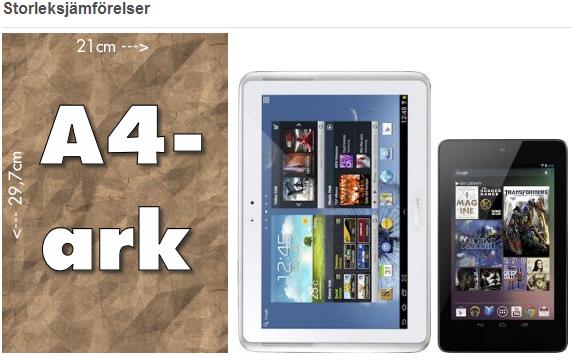 Storleksjämförelse mellan Samsung Galaxy Note 10.1 och Asus Google Nexus 7