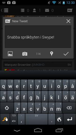 Swype - gestbaserat tangentbord