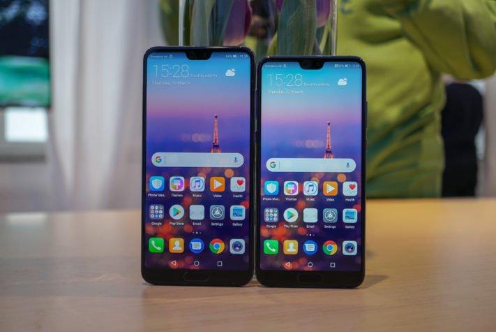 Huawei P20 Pro till vänster och Huawei P20 till höger.