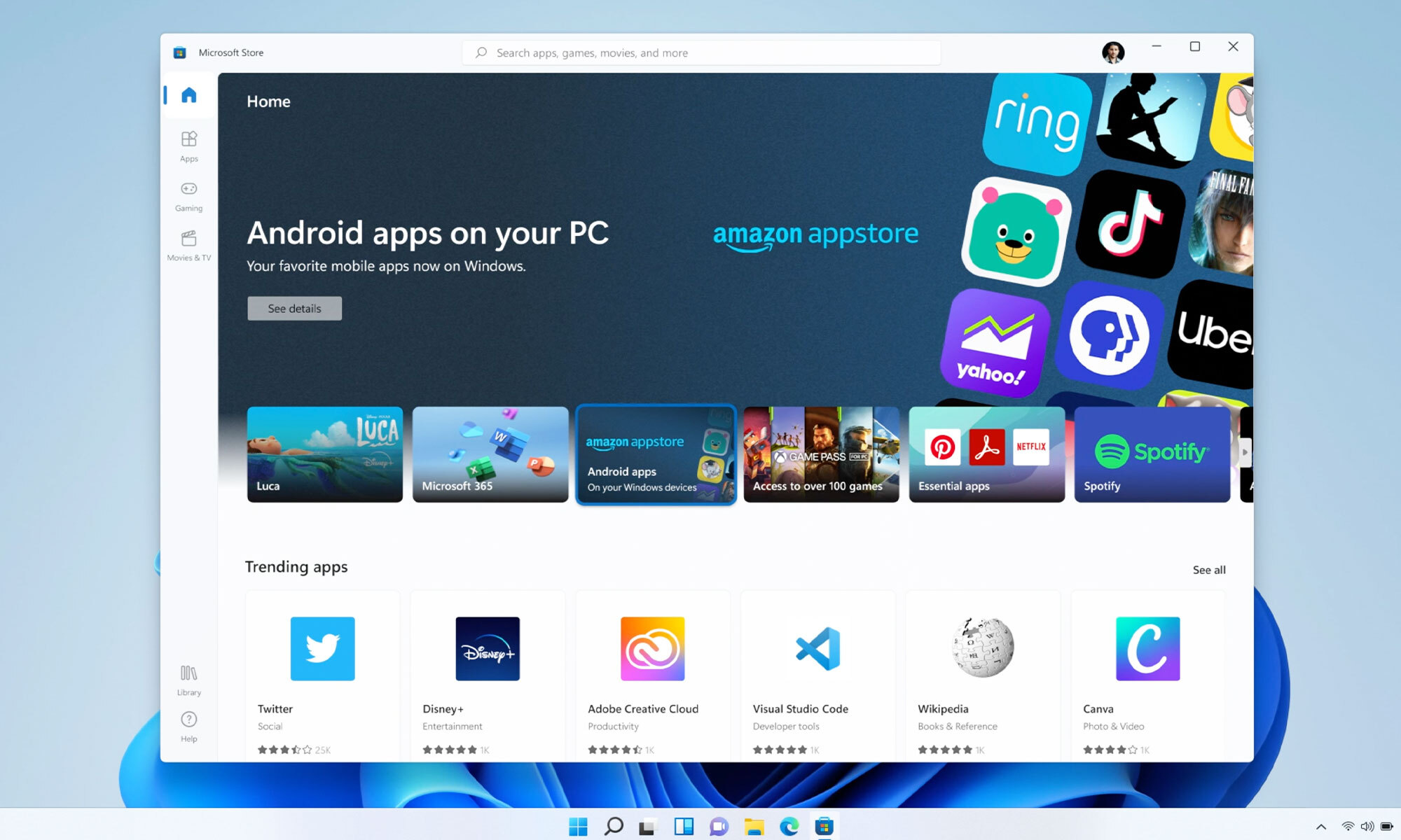 Windows 11 stödjer Androidappar